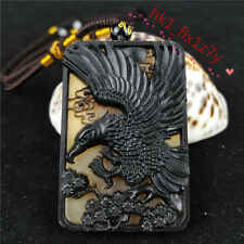 Chinese Hand Carving Ox Horn Pendant Necklace Lucky Eagle Amulet Charm Jewelry