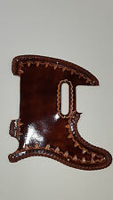 "Leather pick guard Custom Hand Tooled Leather Telecaster  ""Borders""  brown laced"