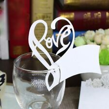 10x Heart Wine Glass Paper Card Cup Card Table Mark Place Name Cards Party Event