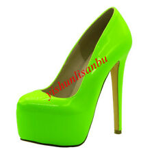 Round Toe Slip On Simple Sandals Stiletto Casual Green Women Shoes Platform Cute