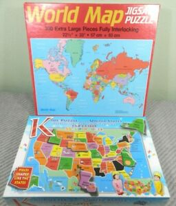 2 Puzzles Golden World Map 300 Pcs & Broader View United States 55 Pieces