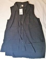 H & M Divided- Black Sleeveless Casual Buttoned Shirt - UK Size 10 - NEW