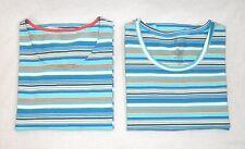 Organic Cotton Ginny Aqua Blue Striped Scoop Neck T-shirts New S Lot of 2