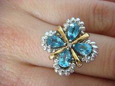 SONIA B. 14K GOLD & SILVER GENUINE BLUE TOPAZ COCKTAIL RING 8.3 GRAMS