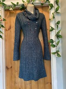 NEXT FOREST GREEN KNIT CABLE KNIT COWL NECK JUMPER DRESS SIZE 8/10