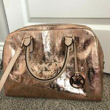 Michael Kors Emmy Dome Large Mirror Metallic Satchel Shoulder Bag Rose Gold