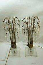 VINTAGE CRYSTAL PRISM LAMP PAIR WATERFALL ART DECO HOLLYWOOD REGENCY SET OF 2