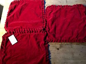 """VINTAGE DEEP RED VELVET CUSHION COVERS WITH RUFFLED EDGES  16"""""""