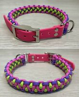 Personalised Paracord/ Biothane Dog Collars & Matching Leads. Pick Your Colours