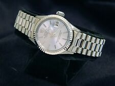Ladies Rolex Solid 18K White Gold Datejust President Watch w/Silver Dial 6917