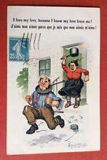 CPSM. Illustrateur Donald Mc GILL. Comique. N°5184. Couple. Dispute. Casserole.