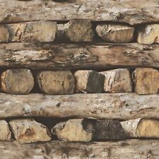 STACKED LOGS WALLPAPER - RASCH 931808 - NEW WOOD
