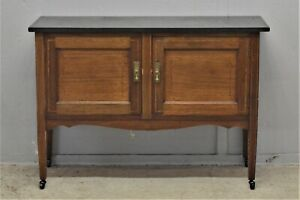 Antique Washstand cupboard with Slate top on casters delivery available