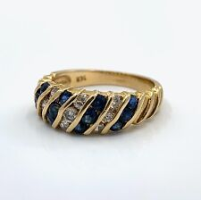 14K Yellow Gold Channel-Set Diamond Sapphire Sz 5.5 Stacker or Turban Ring, 3.3g