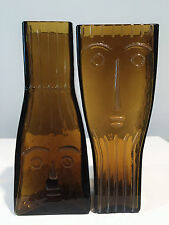 Flygsfors Sweden Glass Pair of Face Vases by Wiktor Berndt
