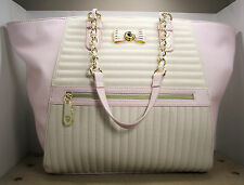 Betsey Johnson E/W Pink Blush & Bone White Channel Quilted Tote Purse MSRP $128