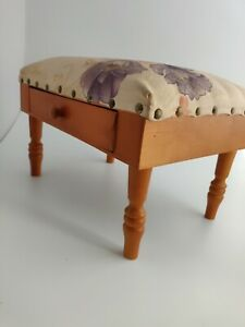 Vintage Foot Stool With Drawer. Sewing box ? Upholstered top. Very cute