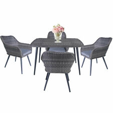 5PC Patio Rattan Wicker Table Chairs Sofa Dining Garden Set Furniture Outdoor