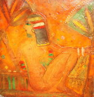 Vintage abstract oil painting nude woman portrait