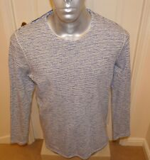 """BNWT LEVI`S """"MADE & and CRAFTED CREW SWEAT BLUE STRIPED """" Size 3  ,42"""" CHEST, L"""