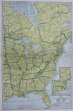 OLD ANTIQUE 1906 UNITED STATES & CANADA MAP COLOR CHROMOLITHOGRAPH PRINT