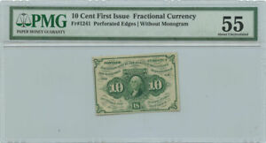 10 Cent First Issue Fractional Currency PMG AU 55 Fr #1241