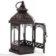 Black Hexagonal Metal & Glass Lantern with Cutouts, Rustic Chic Decor