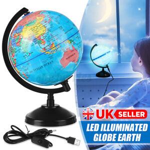 Illuminated World Globe Light Up Earth World Globe Map LED Night Lamp Room Gift