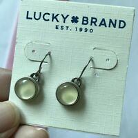 New Lucky Brand Earrings Silver Cute Mini Round White Stone Vintage Style #86