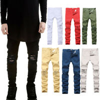 US Mens Casual Slim Stretch Denim Jeans Destroyed Ripped Skinny Pants Trousers