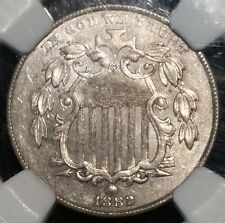 1882 P SHIELD NICKEL NGC MS62 NO RAYS  NICKLE UNITED STATES FIVE CENTS 5C MS 62