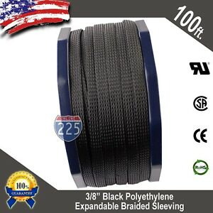 "100 FT 3/8"" Black Expandable Wire Cable Sleeving Sheathing Braided Loom Tubing"