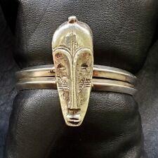 Massive 1970's Vintage African Mask Sterling Cuff Mens Bracelet