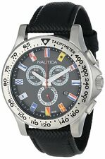 Nautica Chronograph Black Dial SS Polyurethane Quartz Mens Watch N19595G