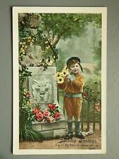 R&L Postcard: Birthday Greetings, Statue, Boy & Flowers, Dated 1912