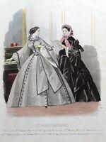 LES MODES PARISIENNE, PARIS FASHION plate 866 antique hand coloured print 1859