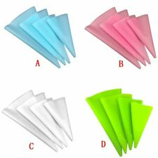 4pcs Silicone Icing Piping Cream Pastry Bag Reusable Cake DIY Decorating Tools