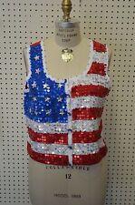 VINTAGE Women Patriotic AMERICAN FLAG Sweater Vest NEW SZ LARGE Sequin Red Blue