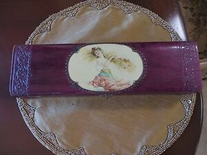 Antique Celluloid Victorian Vanity Necktie Box Lovely Lady Excellent Condition