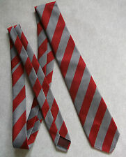 BNWOT NEW BOYS TIE MOD CASUAL AGE 6-12 CLUB SCHOOL STRIPED RED SILVER GREY