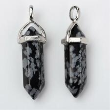 Snowflake Obsidian Pointed Hexagon Wand Pendant 40 x 10mm