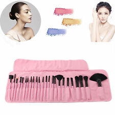 24 Professional Cosmetic Eyebrow Shadow Makeup Brush Set Kit SCF Pink Pouch Bag