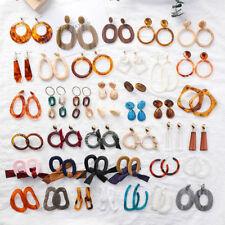 Retro Women Acrylic Tortoise Shell Earrings Round Resin Dangle Hoop Earrings