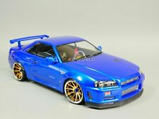 Custom RC 1/10 Drift NISSAN SKYLINE R34 AWD Belt CAR Blue RTR 2.2 Fly Wheels