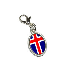 Iceland Flag - Antiqued Bracelet Pendant Oval Charm with Lobster Clasp