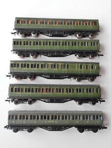 5 x N Gauge Green Southern Railway Coaches