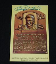 Ralph Kiner Pittsburgh Pirates Signed Yellow Hof Plaque Postcard-Nm