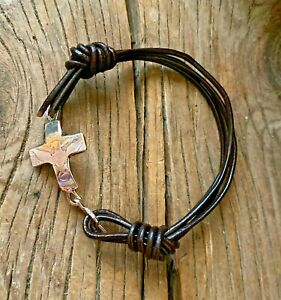 Hand Forged Cross Cuff Bracelet of Sterling Silver Dark Brown Leather