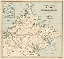 1926 Stanford Map of British North Borneo (Sabah, Malaysia)