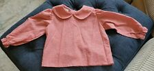 Samara Child's Blouse 2T Top Checkered Red & White Buttons Unisex